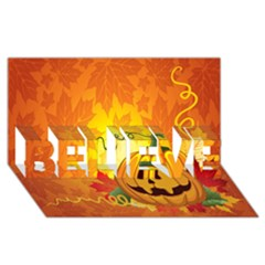Halloween Pumpkin Believe 3d Greeting Card (8x4)