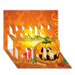Halloween Pumpkin You Did It 3d Greeting Card (7x5) by AnjaniArt