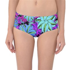 Vibrant Floral Collage Print Mid-waist Bikini Bottoms by dflcprintsclothing