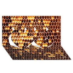 Honey Honeycomb Jpeg Twin Hearts 3d Greeting Card (8x4) by AnjaniArt