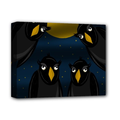 Halloween   Black Crow Flock Deluxe Canvas 14  X 11  by Valentinaart