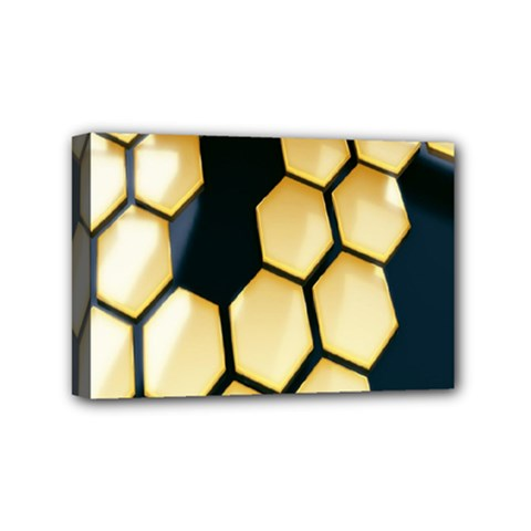 Honeycomb Yellow Rendering Ultra Mini Canvas 6  X 4  by AnjaniArt
