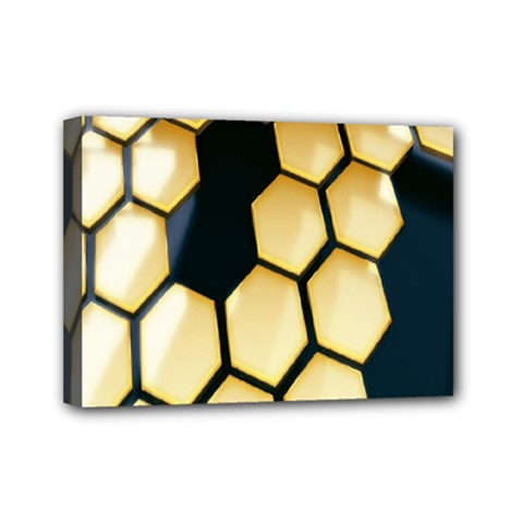 Honeycomb Yellow Rendering Ultra Mini Canvas 7  X 5  by AnjaniArt