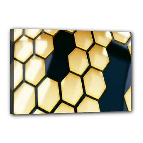 Honeycomb Yellow Rendering Ultra Canvas 18  X 12  by AnjaniArt