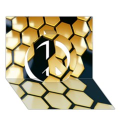 Honeycomb Yellow Rendering Ultra Peace Sign 3d Greeting Card (7x5)