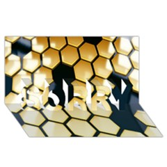 Honeycomb Yellow Rendering Ultra Sorry 3d Greeting Card (8x4)