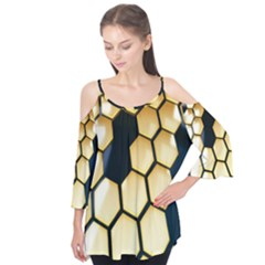 Honeycomb Yellow Rendering Ultra Flutter Tees