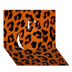 Leopard Patterns Apple 3d Greeting Card (7x5)