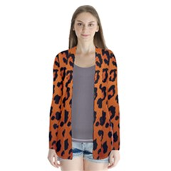 Leopard Patterns Drape Collar Cardigan by AnjaniArt