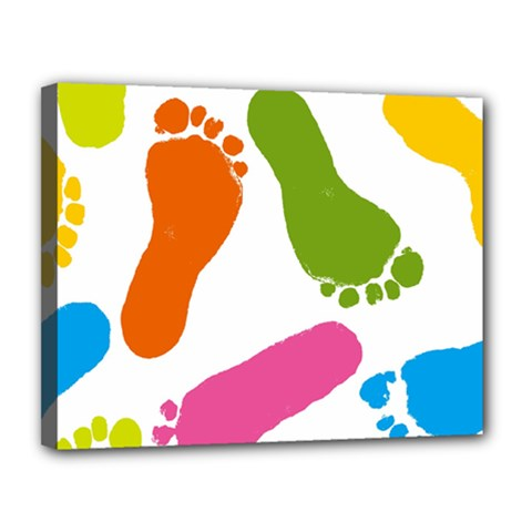 Lip Handprint Canvas 14  X 11  by AnjaniArt