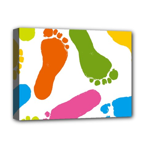 Lip Handprint Deluxe Canvas 16  X 12   by AnjaniArt