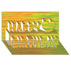 Green And Oragne Happy Birthday 3d Greeting Card (8x4) by Valentinaart