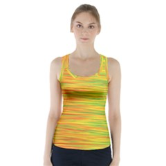 Green And Oragne Racer Back Sports Top by Valentinaart