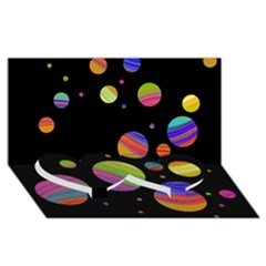 Colorful Galaxy Twin Heart Bottom 3d Greeting Card (8x4) by Valentinaart