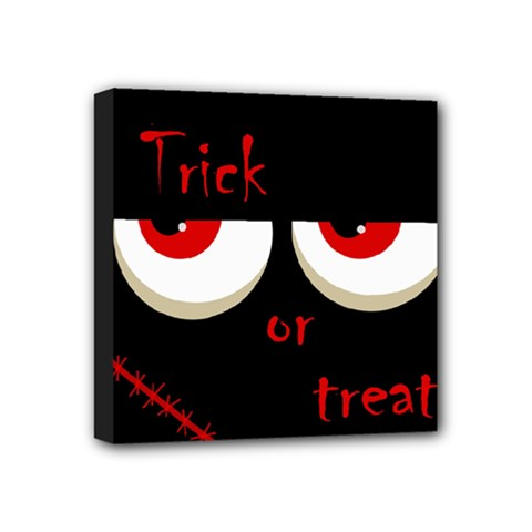 Halloween  trick Or Treat    Monsters Red Eyes Mini Canvas 4  X 4
