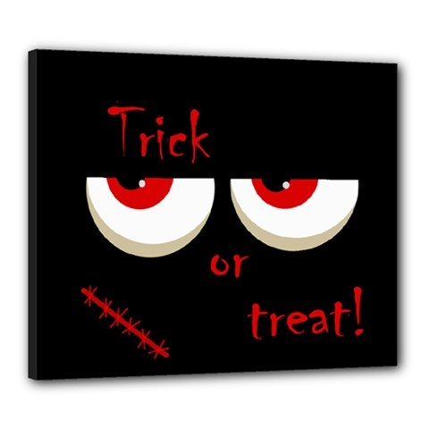 Halloween  trick Or Treat    Monsters Red Eyes Canvas 24  X 20  by Valentinaart