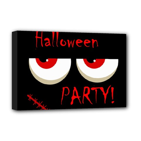 Halloween Party   Red Eyes Monster Deluxe Canvas 18  X 12   by Valentinaart