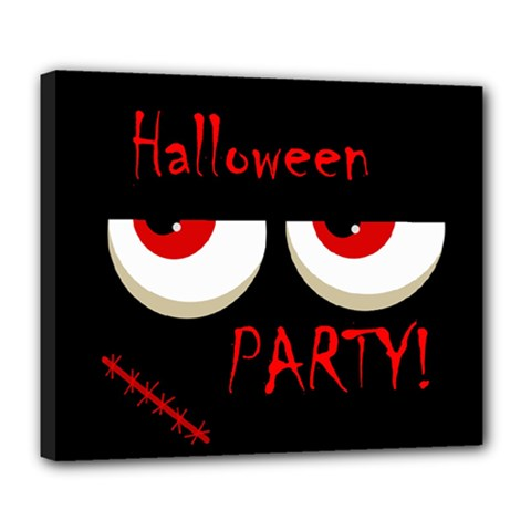 Halloween Party   Red Eyes Monster Deluxe Canvas 24  X 20   by Valentinaart