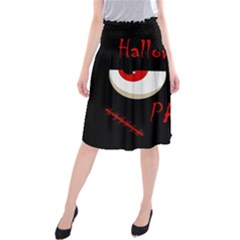 Halloween Party   Red Eyes Monster Midi Beach Skirt by Valentinaart