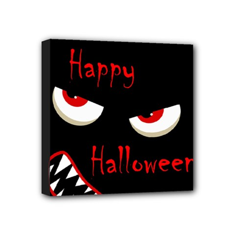 Happy Halloween   Red Eyes Monster Mini Canvas 4  X 4  by Valentinaart