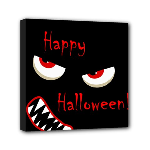 Happy Halloween   Red Eyes Monster Mini Canvas 6  X 6  by Valentinaart