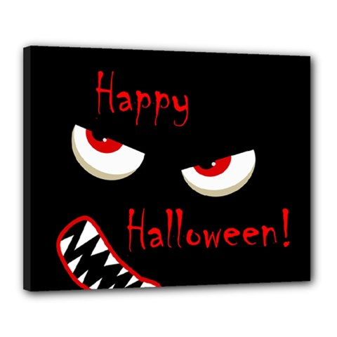 Happy Halloween   Red Eyes Monster Canvas 20  X 16  by Valentinaart