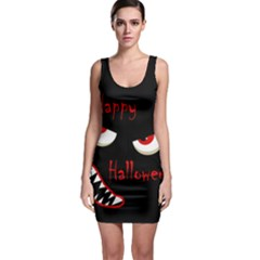 Happy Halloween - Red Eyes Monster Sleeveless Bodycon Dress by Valentinaart