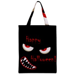Happy Halloween   Red Eyes Monster Zipper Classic Tote Bag by Valentinaart