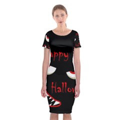 Happy Halloween - Red Eyes Monster Classic Short Sleeve Midi Dress by Valentinaart
