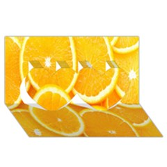 Orange Fruit Twin Hearts 3d Greeting Card (8x4) by AnjaniArt