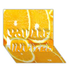Orange Fruit You Are Invited 3d Greeting Card (7x5) by AnjaniArt