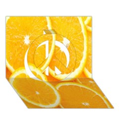 Orange Fruit Peace Sign 3d Greeting Card (7x5) by AnjaniArt