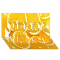 Orange Fruit Merry Xmas 3d Greeting Card (8x4) by AnjaniArt