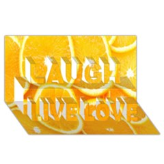 Orange Fruit Laugh Live Love 3d Greeting Card (8x4) by AnjaniArt
