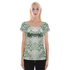 Green Snake Texture Women s Cap Sleeve Top