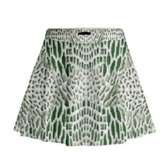 Green Snake Texture Mini Flare Skirt