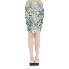 Green Snake Texture Midi Wrap Pencil Skirt