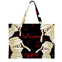 Halloween Mummy Party Zipper Large Tote Bag by Valentinaart