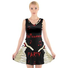 Halloween Mummy Party V-neck Sleeveless Skater Dress by Valentinaart