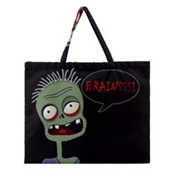 Halloween Zombie Zipper Large Tote Bag by Valentinaart