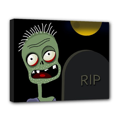 Halloween Zombie On The Cemetery Deluxe Canvas 20  X 16   by Valentinaart