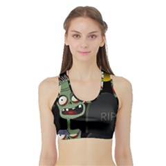 Halloween Zombie On The Cemetery Sports Bra With Border by Valentinaart
