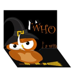 Halloween Witch   Orange Owl Apple 3d Greeting Card (7x5) by Valentinaart