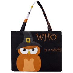 Halloween Witch   Orange Owl Mini Tote Bag by Valentinaart