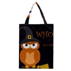 Halloween Witch   Orange Owl Classic Tote Bag by Valentinaart