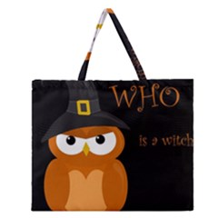 Halloween Witch   Orange Owl Zipper Large Tote Bag by Valentinaart