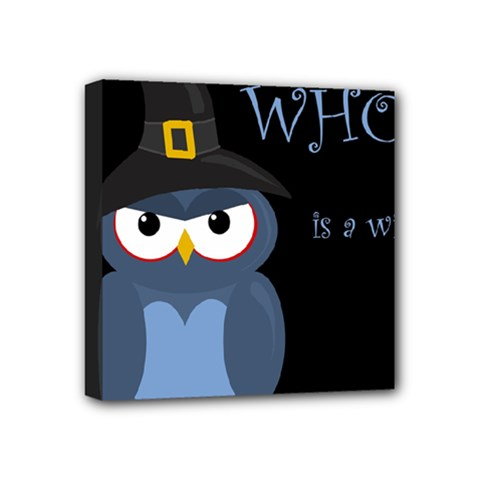 Halloween Witch   Blue Owl Mini Canvas 4  X 4  by Valentinaart