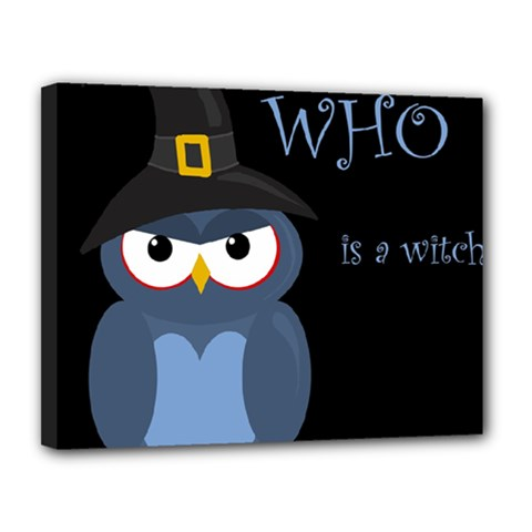 Halloween Witch   Blue Owl Canvas 14  X 11  by Valentinaart
