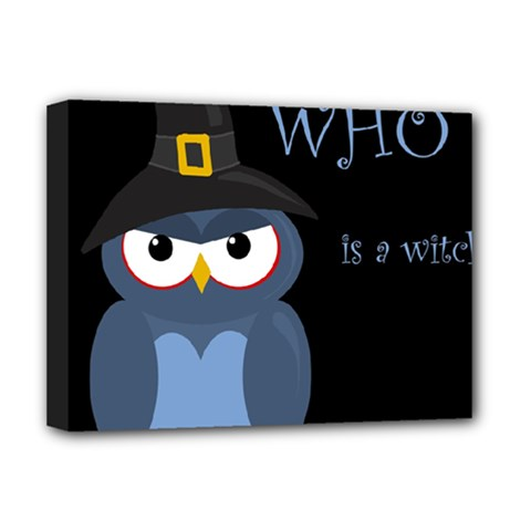 Halloween Witch   Blue Owl Deluxe Canvas 16  X 12   by Valentinaart