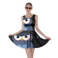 Halloween Witch - Blue Owl Skater Dress by Valentinaart
